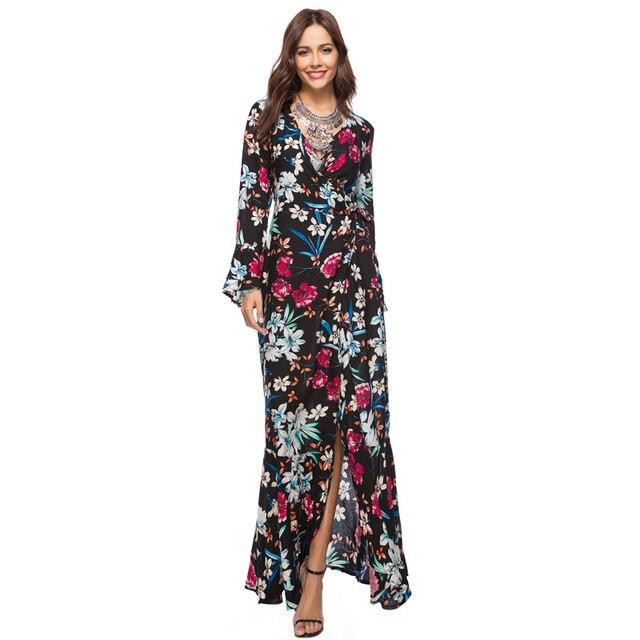 cf6d7e1d27a1 Plus size 3XL Bohemian dress women summer sundress 2018 v neck long sleeve  floral print long maxi split hippie boho tunic dress