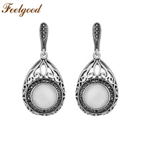 High Quality Silver Color Zinc Alloy Big Vintage Earring Natural Stone Opal Earrings Fashion Jewelry Mother
