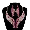 Sistemas del pendiente del Collar de Las Mujeres Del Partido nupcial de la boda establece La manera del partido crystal rhinestone pendientes de pavo real de color rosa conjuntos