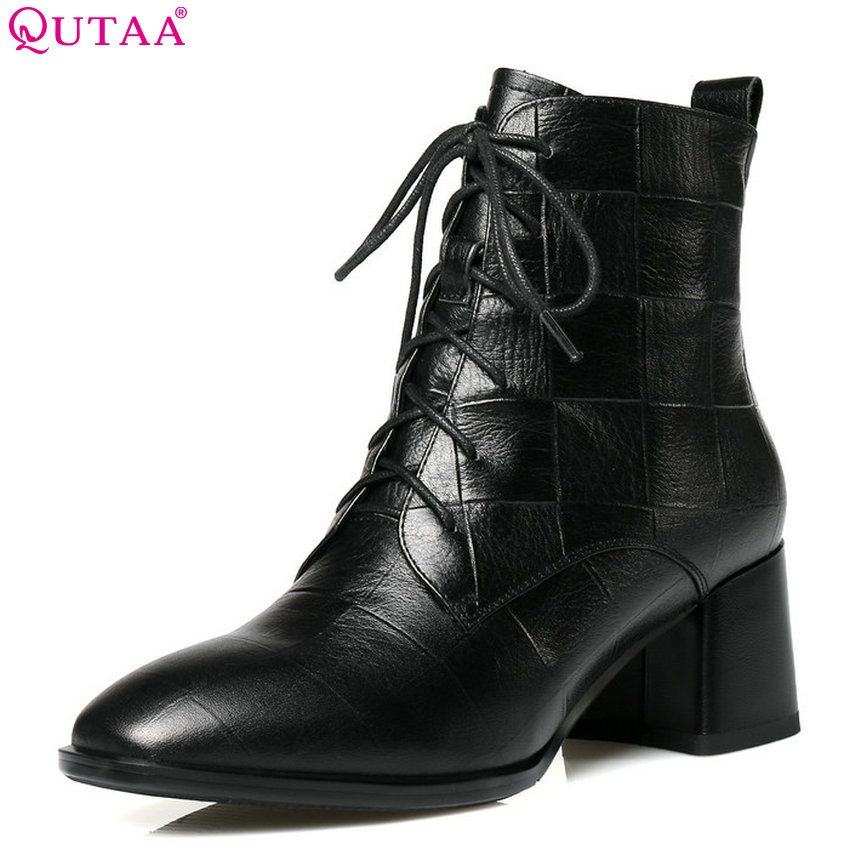 QUTAA 2019 Women Ankle Boots Platform Square High Heel Elegant Winter Shoes Zipper Lace Up Fashion Ladies Boots Big Size 34-42 new 2016 fashion women winter shoes big size 33 47 solid pu leather lace up high heel ankle boots zapatos mujer mle f15