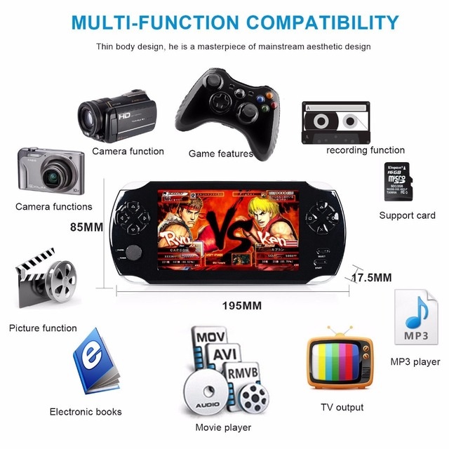 S9000A 5-inch Large Screen 8GB Game Player Handheld Game Console Nostalgia Portable Gaming Machine USB 2.0 Interface EU/US Plug 5