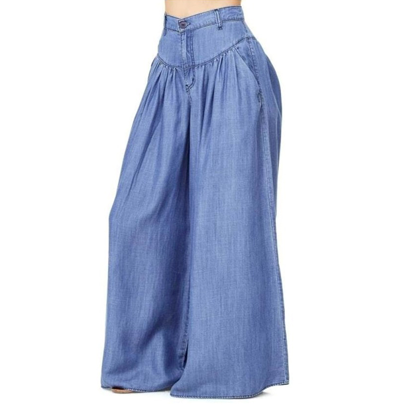 2017 European And American-Style New Style Plus-sized Casual Pants Pants Pants Women's Solid Color Simple Wide-Leg Pants