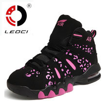 LEOCI Women Basketball Shoes Men font b Sneakers b font Cow Leather Air Sole Basketball Shoes
