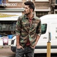 SIMWOOD 2017 Outono Nova Chegada Camuflagem Camisas Casuais Camisas de Manga Longa Homens Magros Algodão Exército Verde CC017030