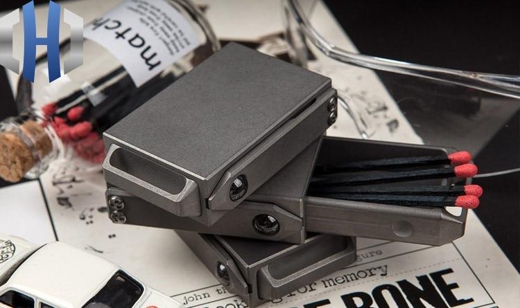 Image 4 - Creative Portable Compact EDC Titanium Alloy Draw Matchbox Outdoor Tactical Storage BoxCrowbars   -