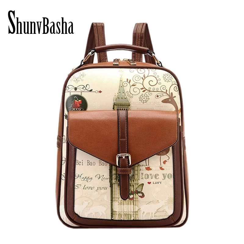 ShunvBasha High Quality Women Backpack Leather Bags 2018 Backpacks For Teenage Girls Fashion Bag Woman Back Pack Bolsa Mochila high quality anime death note luminous printing backpack mochila canvas school women bags fashion backpacks for teenage girls