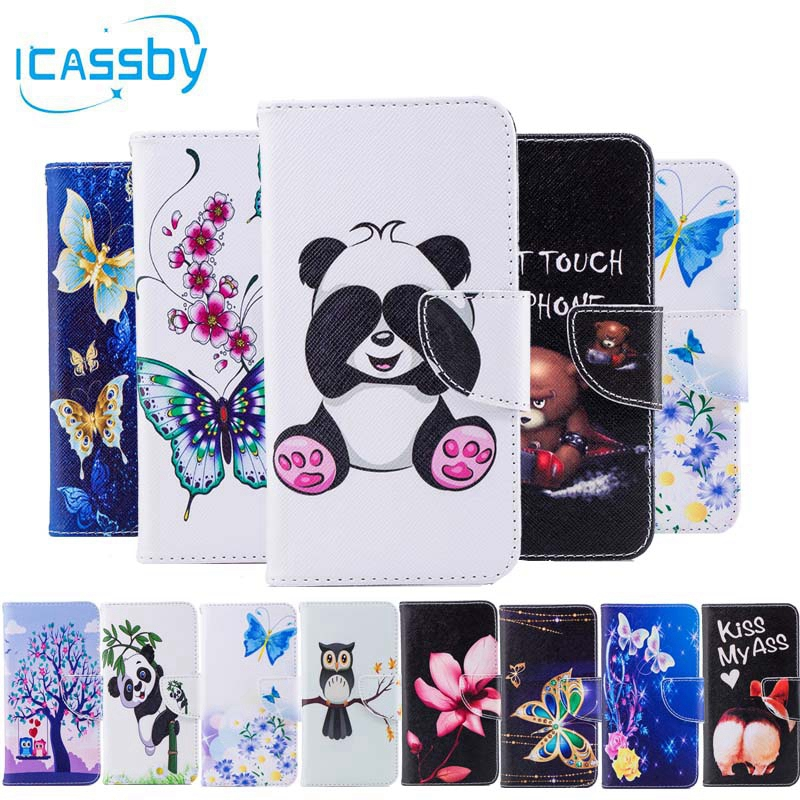 Phone Etui For Coque Huawei Y9 2018 Case Luxury Panda Leather Wallet Flip Cover For Huwawei Enjoy 8 Plus Capinha Hawei Huawey ...