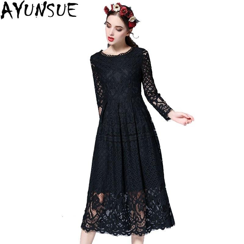 AYUNSUE New European 2018 Autumn Women s Lace Hollow Out Long Dresses Femme Casual Clothing Women