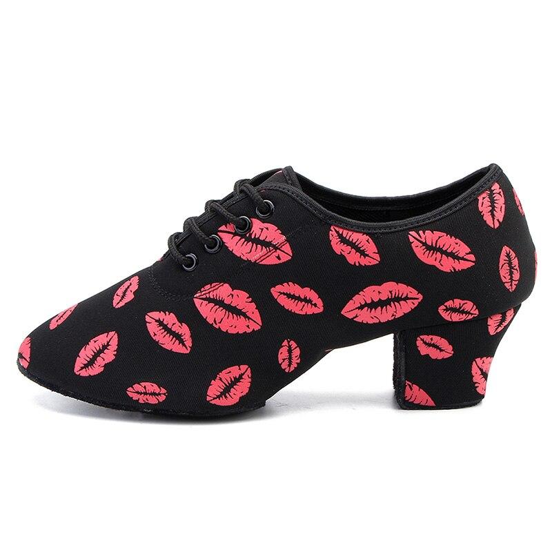 Image 2 - Brand Latin Dance Shoes Modern Women Ballroom Tango Girls Ladies Sneaker Fashion Couple Red Lips Dance Shoes 3CM And 5CM Heel-in Dance shoes from Sports & Entertainment