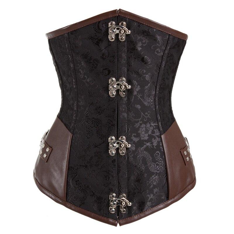 Brown Retro Brocade Gothic Steel Boned Bustiers Steampunk Corset Leather Underbust Tops Shaperwear Brocade Steampunk Corselet