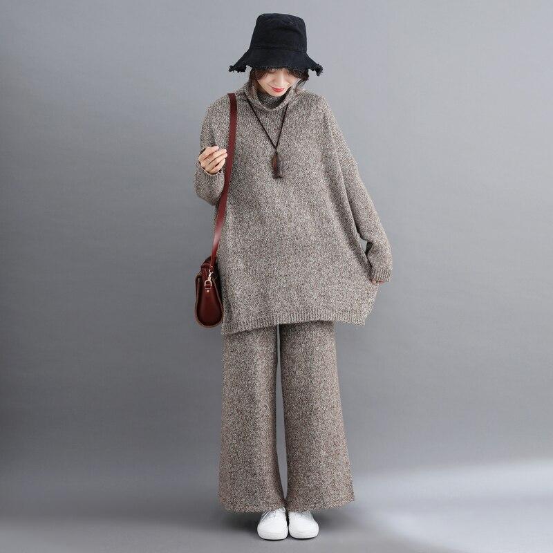 14d0798ba Inverno mulheres Outono Conjunto de Duas Peças de Gola Alta Pullover Camisolas  Jumpers Senhoras Top Femme Casaco Grosso Calças Perna Larga Calças de Malha