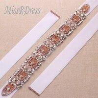 MissRDress Decorazione di Cerimonia Nuziale Progettato Da Sposa Sash Perline Strass Nastri In Oro Rosa Abito Da Sposa Cintura YS815
