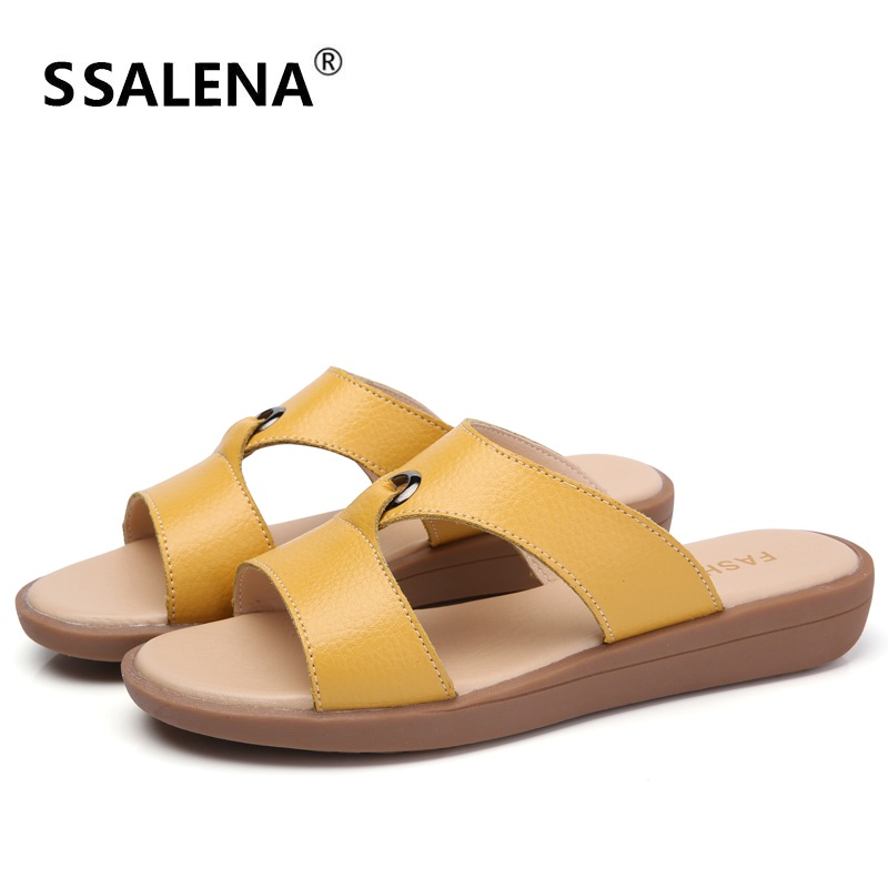 Mãe de Couro de verão Chinelos Slides Salto Das Senhoras Apartamentos Confortáveis Mulheres Fora Chinelos Antiderrapante Sapatos de Moda Casa AA20509
