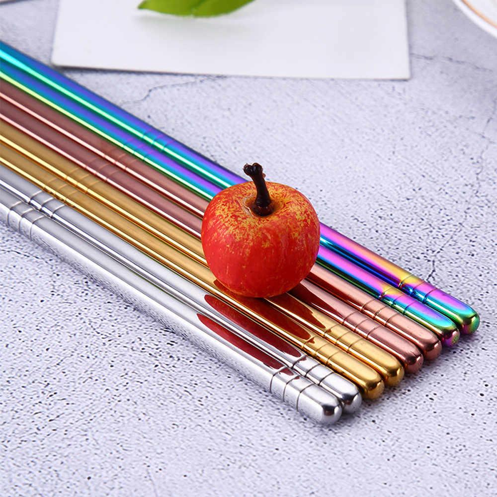 1 par de vajilla de acero inoxidable longitud colorida 23cm palillos reutilizables vajilla de hierro plateado antideslizante hogar Metal chino
