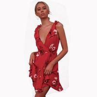 05a9de14f7a4f6 Missufe A Line Ruffles Off The Shoulder Beach Sundress Floral Print Mini  Summer Dress 2019 Red