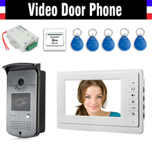 7″ Screen Video Doorbell Door Phone  Intercom System 5 PCS RFID keyfob + IR Night Vision Camera + Power Supply+ Door Exit