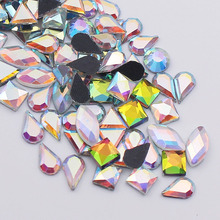 2014 New mix Shaped size 500pcs/lot CrystalAB  Rhinestones Hot Fix Rhinestone On Iron for Garment free Shipping
