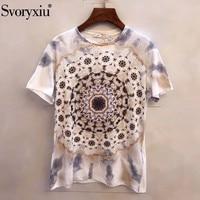 Svoryxiu 2019 Spring Summer Runway Cotton T Shirts Women's Vintage Printing Short Sleeve Tees Tops Female