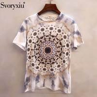 Svoryxiu 2019 Spring Summer Runway Cotton T Shirts Women's Vintage Printing Short Sleeve Tees Tops Female