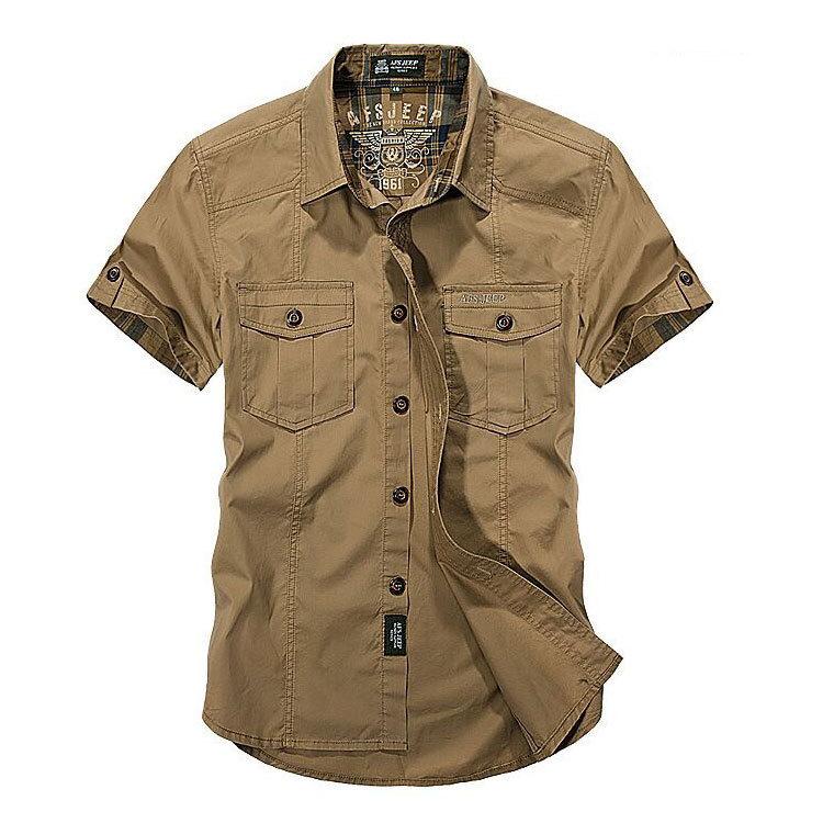 Plus Size Shirt 3xl 2017 NEW Summer Mens Solid Color Dress Shirts Cargo Cotton Short Sleeve Camisas Hombre Marca CLOTHES 1391