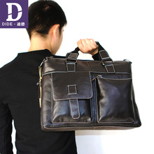 DIDE 2019 Cowhide Briefcases Genuine Leather Mens Business Men Laptop Bag Male Office Briefcase Handbag Shoulder Crossbody bag