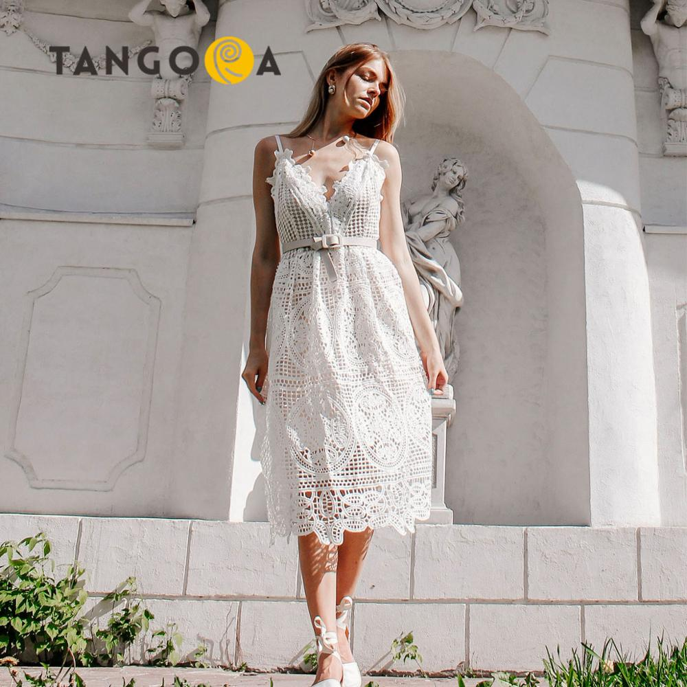 Sexy white lace women summer dresses 2019 new ladies ankle length runway dress elegant woman dress