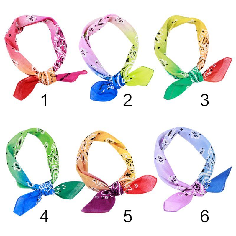 Rainbow Gradient Color Double Paisley Floral Print Unisex Cotton Pocket Square Scarf Headband Bandana Hip-Hop Wristband Neck Tie