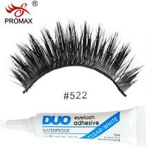 PROMAX 522 False Eyelashes 3 Pairs Handmade Soft Natural Long Thick False Eye Lashes Extension With 1 PCS DUO Eyelash Glue