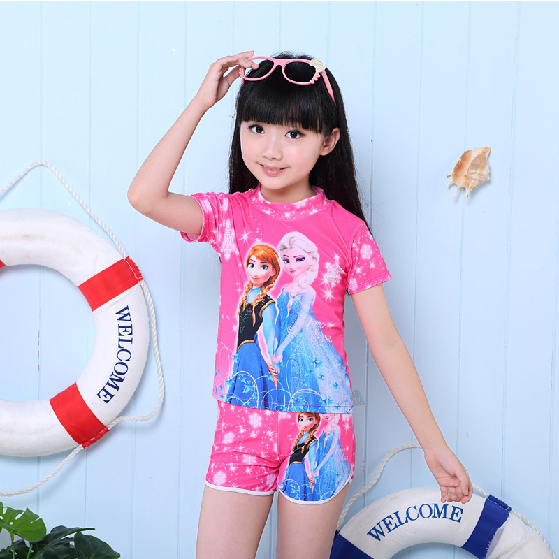 Summer Kids Swimming Suits For Girls Short Sleeve Swimsuit Child