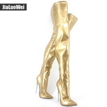 JIaluowei 6 1/4″ ultra Metal High Heels Patent Leather Boots Pointed Toe Plain Stretch fetish Sexy unisex Long Thigh High Boots