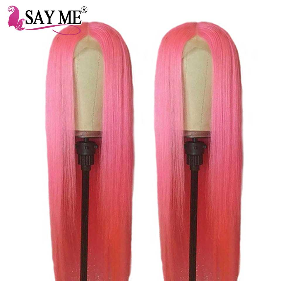 Glueless Lace Front Human Hair Wigs Pre Plucked Pink Lace Front Wig 13 4 Wigs For