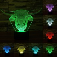 Cow Style 7 Colour Discoloration Creative Visual Stereo Lamp 3D Touch Switch Control LED Light Desk