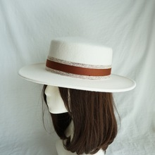 01812 panshi Good quality wool white ribbon   leisure  fedoras  cap MEN women PANAMA hat