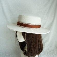 01812 panshi Высококачественная шерстяная шляпа с белой лентой для отдыха, мужская и женская панама