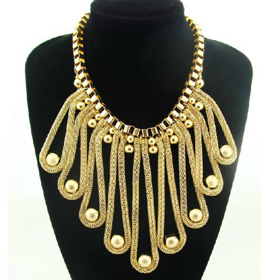 2018 Fashion Choker Costume Jewelry Gold Chain Metal Large Hoker Necklace Hoverboard Collier Bubble Statement Necklace Women