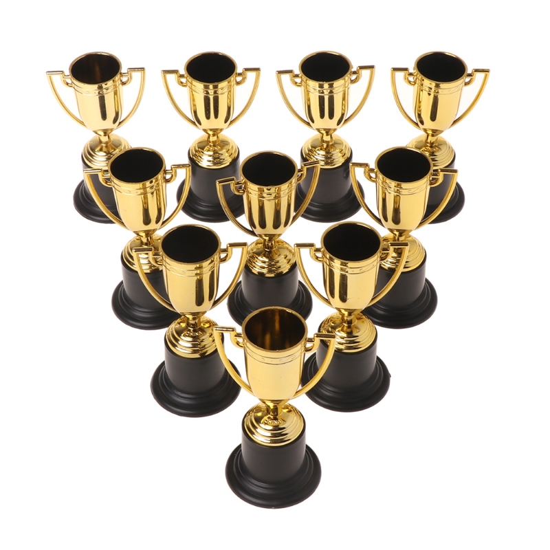 10pcs Safe Eco- Friendly ABS Golden Cups Trophy Sports Winner Educational Props Kids Reward Prizes Toys For Kids Game