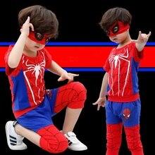 High quality Boys clothes set Spider Man Suits the boy cartoon Sets T-shirt+Half pants The fashion leisure streets suit P034
