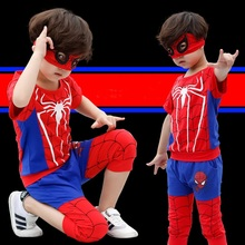 High quality Boys clothes set Spider Man Suits the boy cartoon Sets T-shirt+Half pants The fashion leisure streets suit P034