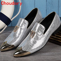 2018 Italian Shoes Men Leather Spiked Heels Wedding Dress Shoes Gold Silver Mens Luxury Loafers Glitter