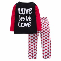 Toddle Kids Baby Boy Girl Clothes Autumn baby clothes Kids Baby Girls Outfit Clothes love letter T shirt heart Pants
