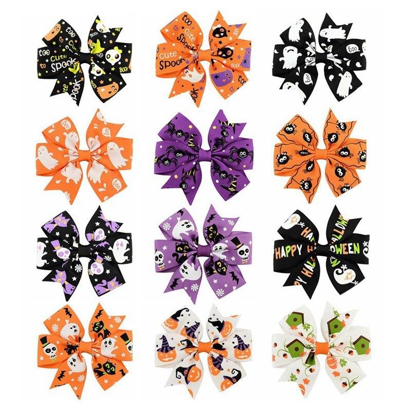 12 Colors Ghost Halloween Cartoon Hairbow Hairpin Girl Hairclip Children Grosgrain Bowknot Barrettes Hair Accessories