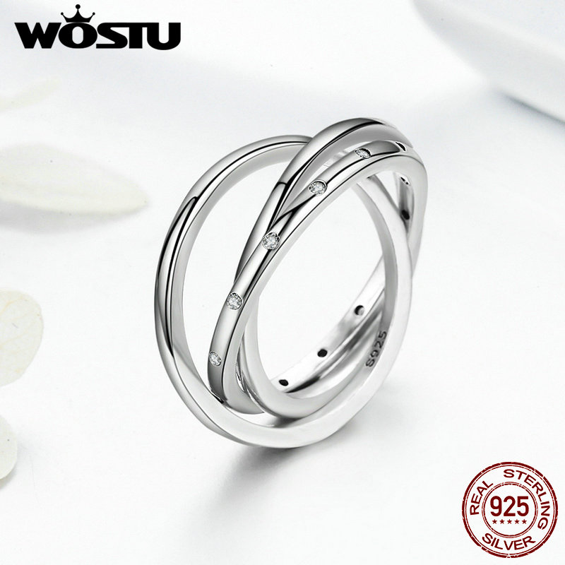 WOSTU New Arrival Genuine 925 Sterling Silver Innovative Swirling Rings For Women Fashion Jewelry Gift SDP7627 wostu new arrival real 925 sterling silver luminous glow rings for women authentic fine jewelry gift zbb7640