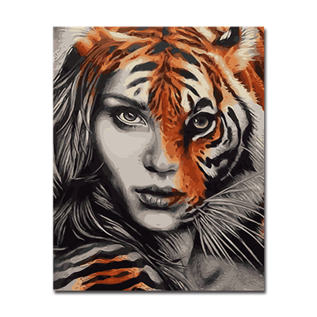 Diy Oil Painting By Numbers Abstract Coloring Half Tiger S Face Woman Canvas Pictures Hand Paint Home Decor Wall Art
