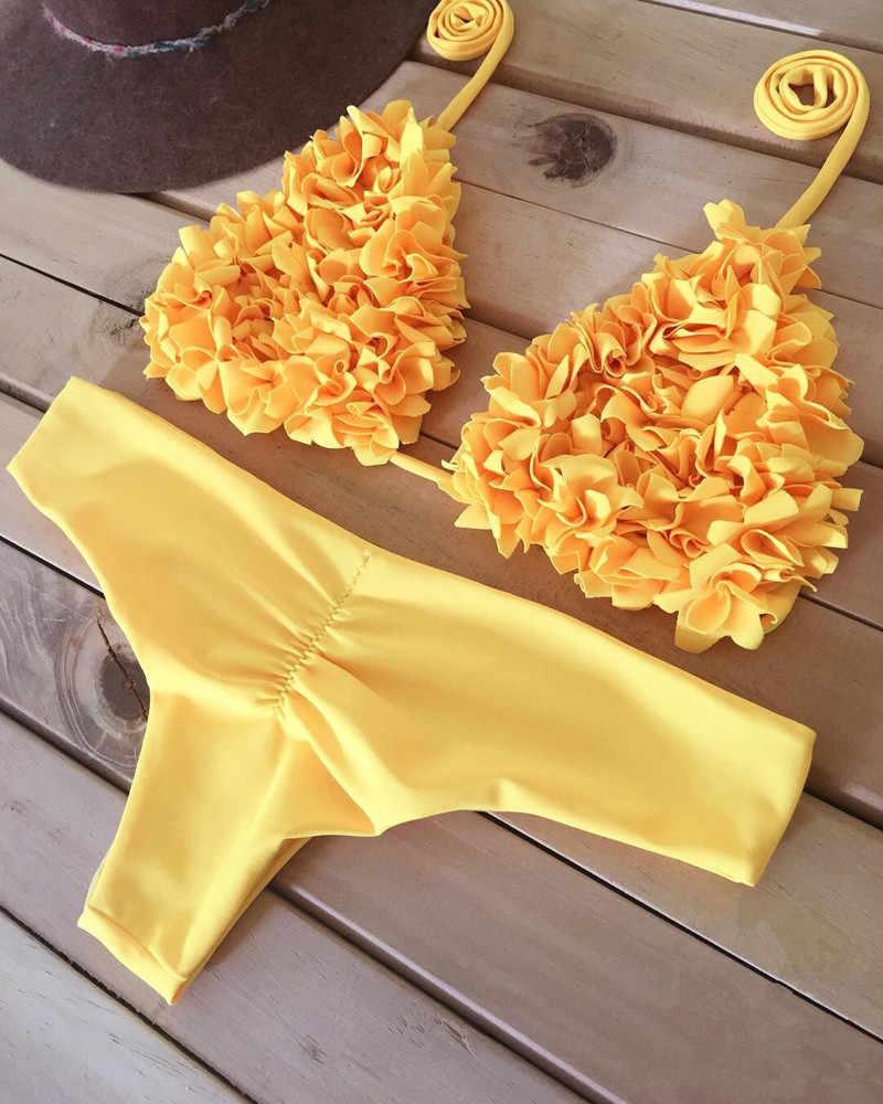 Brasil Thông Bikini Đẩy Lên Đồ Bơi Cao cấp Đồ Tắm Vàng 2 Mảnh Nữ Monokini Bikini Mujer 2019