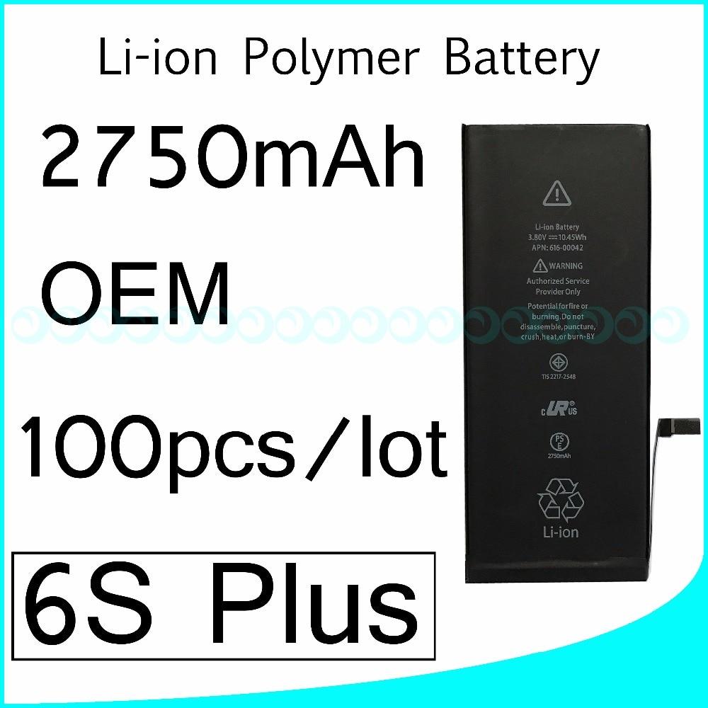 100pcs/lot Hot selling OEM 0 zero cycle Full Capacity Battery for iPhone 6S Plus 2750mAh 3.82V Replacement Repair Parts