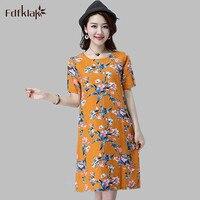 Woman Beach Dress Flower Print Short Sleeve Summer Dress Women Plus Size Clothes Fashion Vintage Ladies