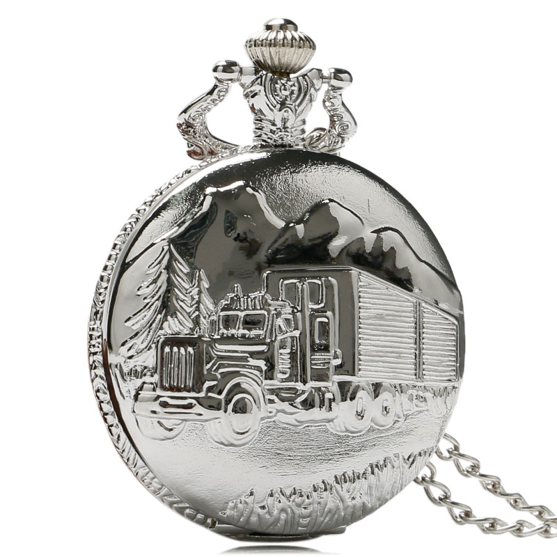 Silver Quartz Antique Pocket Watches for Men and Women Car Truck Motor Pendant Chain Necklace Pocket Watch antique retro bronze car truck pattern quartz pocket watch necklace pendant gift with chain for men and women gift