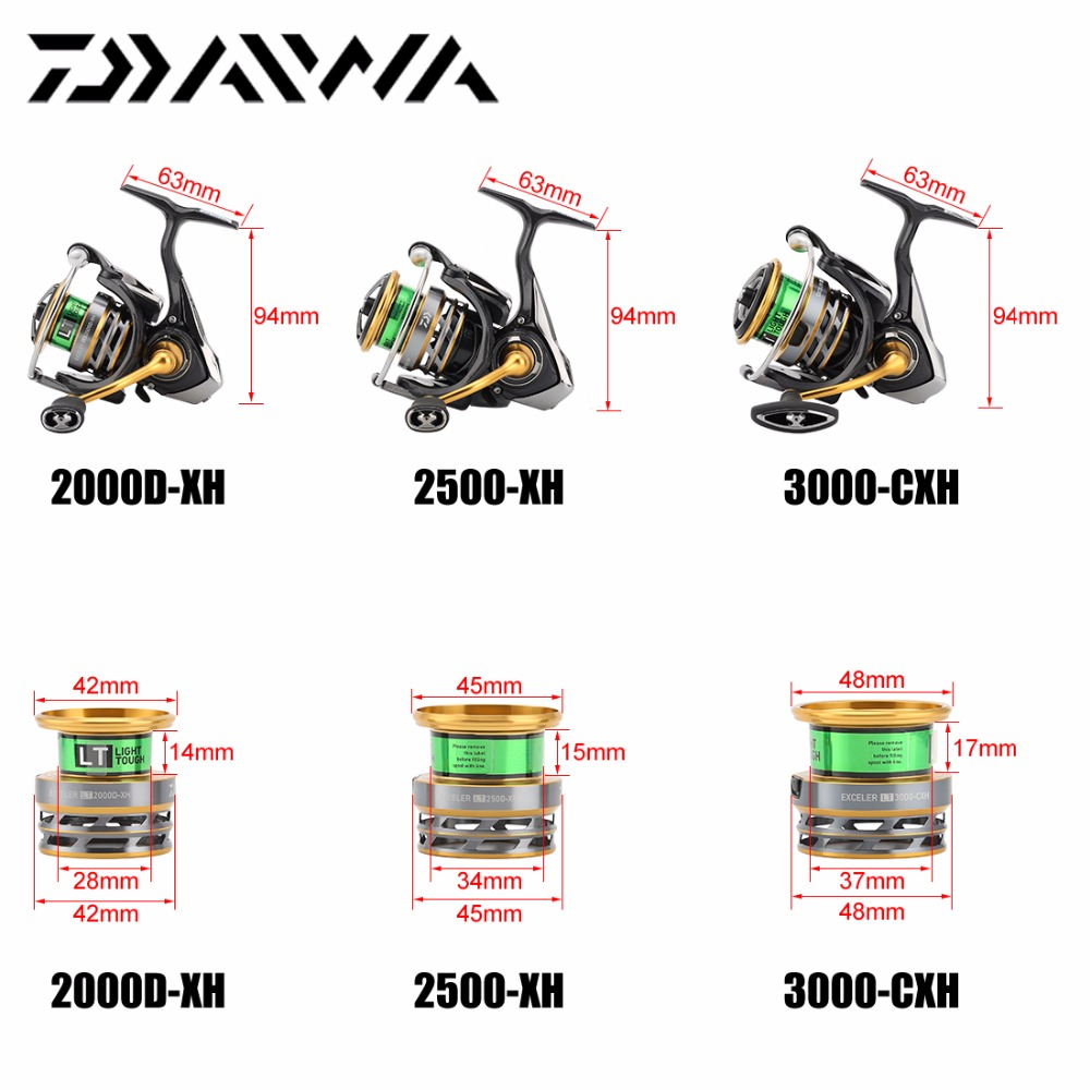US $63 39 50% OFF|18 DAIWA EXCELER LT 1000DXH 2000XH 2500XH 3000CXH  4000DCXH 5000DCXH 6000DH Spinning Fishing Reel High Gear Ratio 5BB LT  Body-in