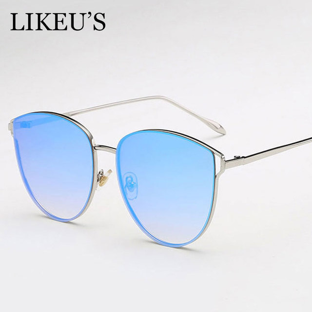451d787500ffc LIKEU S Vintage cat eye Sunglasses Women Ocean Color Lens Mirror Fashion  Sunglasses Female Brand Design Metal