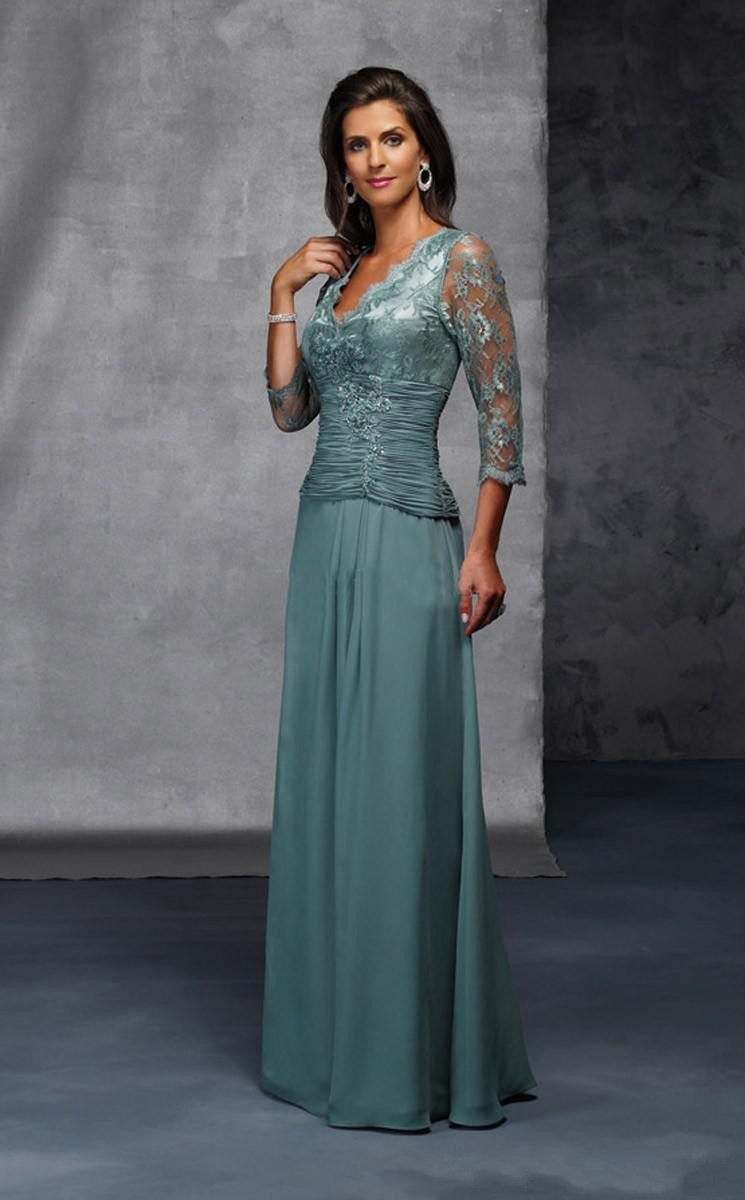 Brides Mother Dresses for Weddings Long Chiffon with Lace 3 4 Sleeves V Neck  Online 86ed33b0d87b